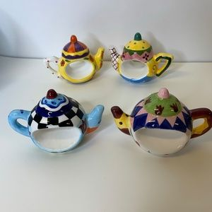 World's Fare  Set of 4 Teapot Napkin Rings Painted